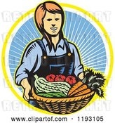 August 12nd, 2018: Vector Clip Art of Retro Woodcut Female Farmer with a Basket Full of Organic Produce over a Ray Circle by Patrimonio