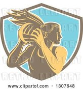 Vector Clip Art of Retro Woodcut Female Volleyball Player Rebounding in a Brown White and Blue Shield by Patrimonio