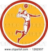 Vector Clip Art of Retro Woodcut Female Volleyball Player Spiking in a Red White and Yellow Circle by Patrimonio