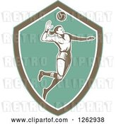 Vector Clip Art of Retro Woodcut Female Volleyball Player Spiking in a Turquoise Brown and White Shield by Patrimonio