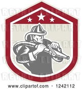 Vector Clip Art of Retro Woodcut Firefighter Wielding a Hose in a Shield by Patrimonio