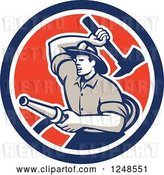 Vector Clip Art of Retro Woodcut Firefighter with a Hose and Axe in a Circle by Patrimonio