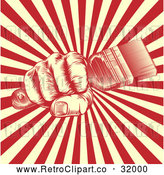 Vector Clip Art of Retro Woodcut Fist Holding a Paintbrush over Yellow and Red Rays by AtStockIllustration