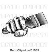 Vector Clip Art of Retro Woodcut Fisted Hand Holding a Paintbrush by AtStockIllustration