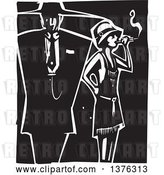 Vector Clip Art of Retro Woodcut Flapper Girl Smoking a Cigarette by a Guy in a Zoot Suit by Xunantunich