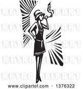Vector Clip Art of Retro Woodcut Flapper Girl Smoking a Cigarette by Xunantunich
