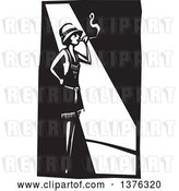 Vector Clip Art of Retro Woodcut Flapper Girl Smoking a Cigarette in a Spot Light by Xunantunich
