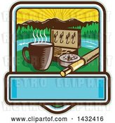 Vector Clip Art of Retro Woodcut Fly Box, Coffee Mug and Fishing Rod in a Sunrise Square with Text Space by Patrimonio