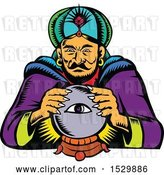 Vector Clip Art of Retro Woodcut Fortune Teller with a Crystal Ball by Patrimonio