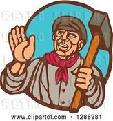 Vector Clip Art of Retro Woodcut Friendly Male Union Worker Waving and Holding a Sledgehammer in a Brown and Blue Oval by Patrimonio
