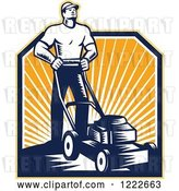 Vector Clip Art of Retro Woodcut Gardener Guy Mowing over Sunshine by Patrimonio