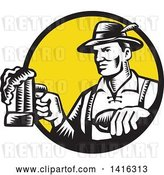 Vector Clip Art of Retro Woodcut German Guy Wearing Lederhosen and Raising a Beer Mug for a Toast, Emerging from a Black and Yellow Circle by Patrimonio