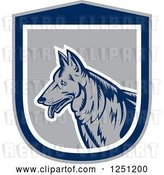 Vector Clip Art of Retro Woodcut German Shepherd Dog in a Gray and Blue Shield by Patrimonio