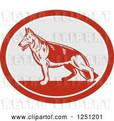 Vector Clip Art of Retro Woodcut German Shepherd Dog in a Gray and Red Oval by Patrimonio