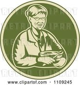 Vector Clip Art of Retro Woodcut Granny Holding a Mixing Bowl in a Green Circle by Patrimonio