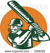 Vector Clip Art of Retro Woodcut Green and White Cricket Batsman over an Orange Circle by Patrimonio