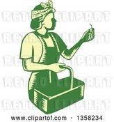 Vector Clip Art of Retro Woodcut Green and Yellow Female Farm Worker Picking Cherries by Patrimonio