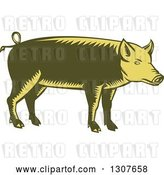 Vector Clip Art of Retro Woodcut Green and Yellow Pig in Profile by Patrimonio