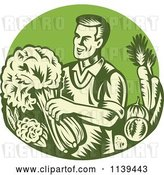 Vector Clip Art of Retro Woodcut Green Organic Farmer with with Produce by Patrimonio