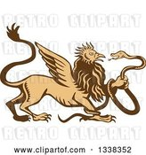 Vector Clip Art of Retro Woodcut Griffin Creature Holding a Snake by Patrimonio