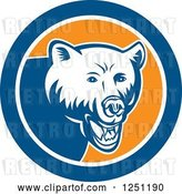 Vector Clip Art of Retro Woodcut Grizzly Bear in a Blue and Orange Circle by Patrimonio