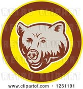 Vector Clip Art of Retro Woodcut Grizzly Bear in a Brown and Yellow Circle by Patrimonio