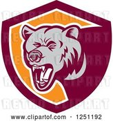 Vector Clip Art of Retro Woodcut Grizzly Bear Roaring in a Maroon and Orange Shield by Patrimonio