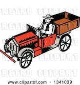 Vector Clip Art of Retro Woodcut Guy Driving a Pickup Truck by Patrimonio