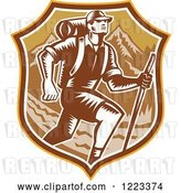 Vector Clip Art of Retro Woodcut Guy Hiking over Mountains in a Brown Shield by Patrimonio