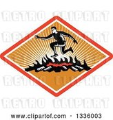 Vector Clip Art of Retro Woodcut Guy Jumping over a Fire in an Obstacle Course Inside a Red White and Orange Ray Diamond by Patrimonio