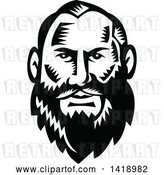Vector Clip Art of Retro Woodcut Guy with a Big Beard by Patrimonio