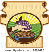 Vector Clip Art of Retro Woodcut Hand Holding a Bunch of Purple Grapes over a Bowl of Raisins in a Scroll Crest with a Sunrise or Sunset by Patrimonio