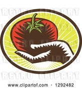 Vector Clip Art of Retro Woodcut Hand Holding a Plump Tomato in a Brown White and Green Sunshine Oval by Patrimonio