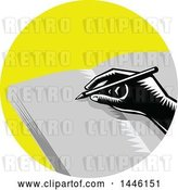 Vector Clip Art of Retro Woodcut Hand Writing in a Journal in a Yellow Circle by Patrimonio