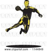 Vector Clip Art of Retro Woodcut Handball Player Jumping by Patrimonio
