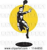 Vector Clip Art of Retro Woodcut Handball Player Jumping over a Circle by Patrimonio