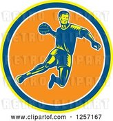 Vector Clip Art of Retro Woodcut Handball Player Jumping over a Yellow Blue White and Orange Circle by Patrimonio