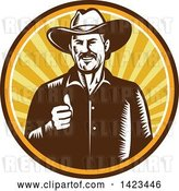 Vector Clip Art of Retro Woodcut Happy Cowboy Giving a Thumb up in a Sunset Circle by Patrimonio