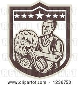 Vector Clip Art of Retro Woodcut Happy Male Grocer with Produce in a Shield by Patrimonio