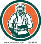 Vector Clip Art of Retro Woodcut Hazchem Worker in a Circle by Patrimonio