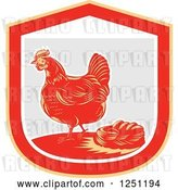 Vector Clip Art of Retro Woodcut Hen and Chicken Eggs in a Nest in a Gray and Red Shield by Patrimonio