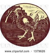 Vector Clip Art of Retro Woodcut Hen in a Brown and Yellow Oval by Patrimonio
