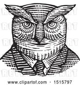 Vector Clip Art of Retro Woodcut Hipster Great Horned Owl in a Suit and Tie by Patrimonio