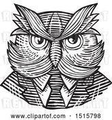 Vector Clip Art of Retro Woodcut Hipster Owl in a Suit and Tie by Patrimonio