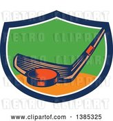 Vector Clip Art of Retro Woodcut Hockey Stick and Puck in a Blue White Orange and Green Shield by Patrimonio