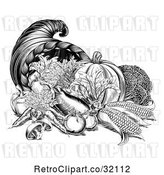 Vector Clip Art of Retro Woodcut Horn of Plenty Cornucopia with Produce by AtStockIllustration