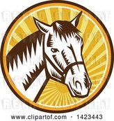Vector Clip Art of Retro Woodcut Horse Head Wearing a Bridle in a Sunset Circle by Patrimonio