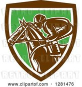 Vector Clip Art of Retro Woodcut Horse Racing Jockey in a Brown White and Green Shield by Patrimonio