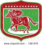 Vector Clip Art of Retro Woodcut Horse Racing Jockey in a Green Red and White Shield with Stars by Patrimonio