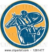 Vector Clip Art of Retro Woodcut Horse Racing Jockey in a Yellow Blue and White Circle by Patrimonio
